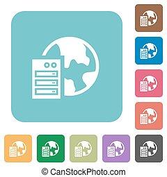 Flat web hosting icons