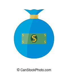Flat web icon. Money bag