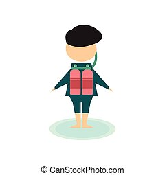 Flat web icon on white background diver