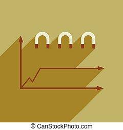 Flat web icon on white background economic graph