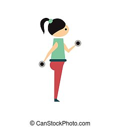 Flat web icon on white background girl dumbbell