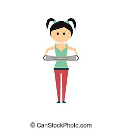 Flat web icon on white background girl stretching