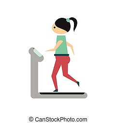 Flat web icon on white background girl treadmill