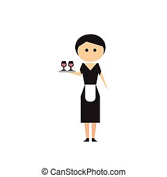 Flat web icon on white background girl waitress