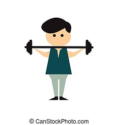 Flat web icon on white background man barbell