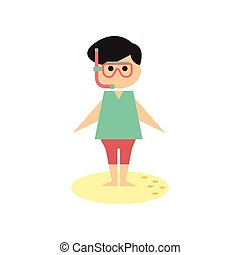 Flat web icon on white background Man diving mask