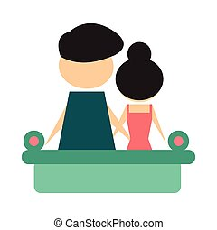 Flat web icon on white background man and woman couch