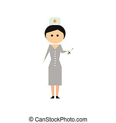 Flat web icon on white background woman doctor