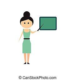 Flat web icon on white background woman teacher