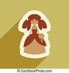 Flat web icon with long shadow bride