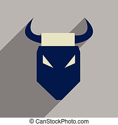 Flat web icon with long shadow bull