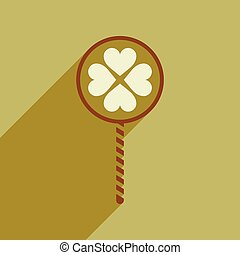 Flat web icon with long shadow candy heart