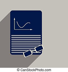 Flat web icon with long shadow economic document glasses