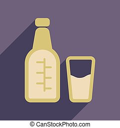 Flat web icon with long shadow glass bottle