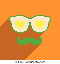 Flat web icon with long shadow glasses mustache