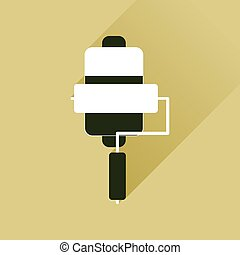 Flat web icon with long shadow mobile battery