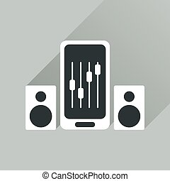 Flat web icon with long shadow mobile volume