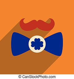 Flat web icon with long shadow mustache butterfly tie