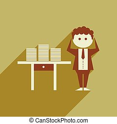 Flat web icon with long shadow office worker