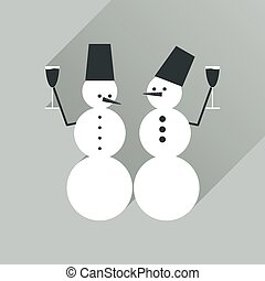 Flat web icon with long shadow Snowmen