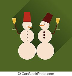 Flat web icon with long shadow Snowmen