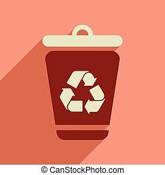 Flat web icon with long shadow trash box