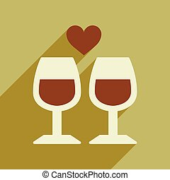 Flat web icon with long shadow wine glasses