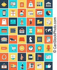 Flat Web Icons - Vector collection of flat and colorful...