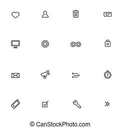Flat Web Vector Icons Set Isolated on White Background