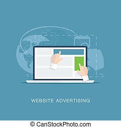 Flat website banner advertising vec