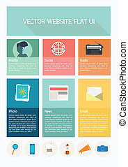 Flat website template UI. User Interface use for website or temp