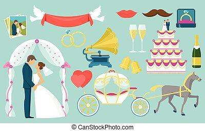Flat Wedding Icon Set