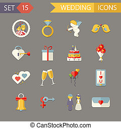 Flat Wedding Symbols Bride Groom Marriage Accessories Icons Set Trendy Modern Vector Illustration
