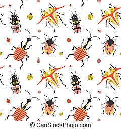 Flat Weird Bugs and Unusual Beetles Pattern