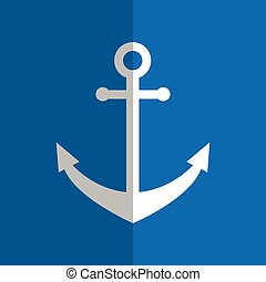 Flat white anchor on blue