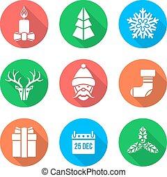 flat white design christmas icons s