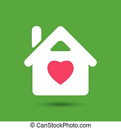 flat white house with pink heart icon on green background