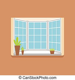Flat window with potted plants on a windowsill