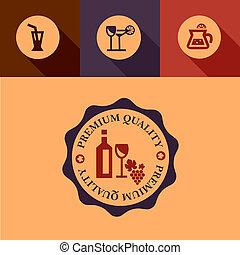 flat wine design elements