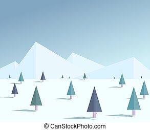 Flat winter forest illustration