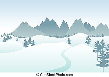 Flat winter vector landscape with silhouettes of trees, hills and mountains.