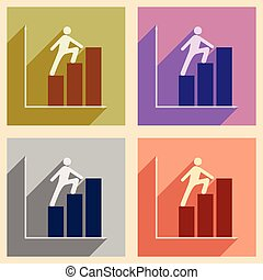 Flat with shadow concept icon man climbs on schedule