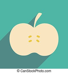 Flat with shadow icon and mobile applacation apple