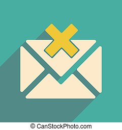Flat with shadow icon and mobile applacation envelope cross