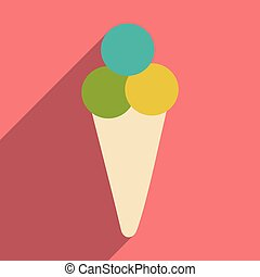 Flat with shadow icon and mobile applacation ice cream