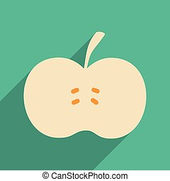 Flat with shadow icon and mobile application apple