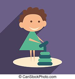 Flat with shadow icon and mobile application child playing pyramid