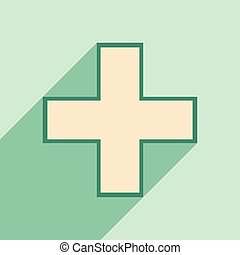 Flat with shadow icon and mobile application pharmacy logo
