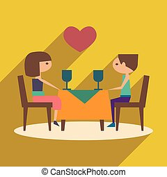 Flat with shadow icon and mobile application romantic dinner