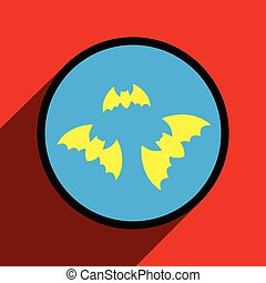 Flat with shadow Icon bats on a colored background